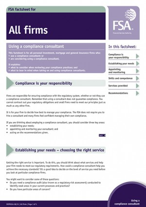 FSA Factsheet Using a compliance consultant